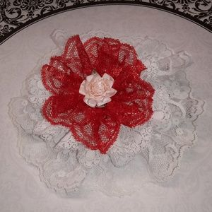White & red lace headband